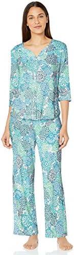 Karen Neuburger Womens Pajamas 3/4 Sleeve Cardigan Long Sleeve Pj Set Pajama Set