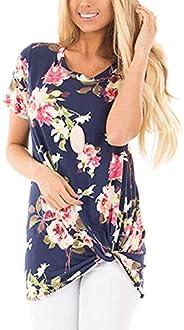 SAMPEEL Women's Casual Solid T Shirts Twist Knot Tunics Tops Blo
