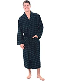 Mens Flannel Robe, Soft Cotton Bathrobe