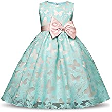 NNJXD Girl Sleeveless Tutu Butterfly Printed Princess Dress for 4-10 Years