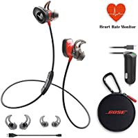 Bose SoundSport Pulse Wireless Headphones - Power Red & Car Charger - Bundle