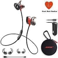Bose SoundSport Pulse Wireless Headphones - Power Red & Car Charger - Bundle