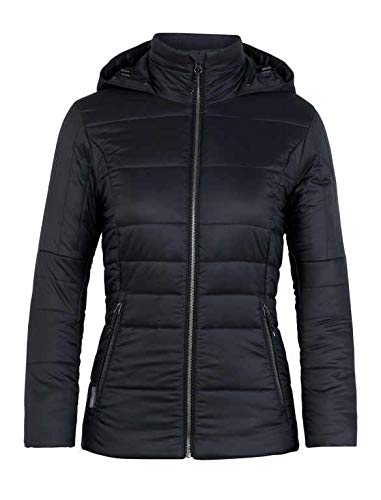 Black Jet Heather Icebreaker Stratus X Hooded Jacket, New Zealand Merino Wool, Down Alternative