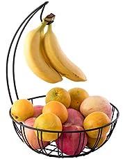 Basicwise Wire Metal Fruit Basket Holder with Banana Hanger, QI003494, Black