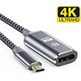 Highwings USB C to DisplayPort Adapter Support (4K@60Hz,1440p@144Hz),Nylon Braided Thunderbolt 3 Compatible with Pad Pro/MacBook Air 2018,MacBook Pro,iMac 2017,ChromeBook Pixel,Dell XPS 15/13-Gray