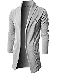 Mens Long Sleeve Draped Open Front Shawl Collar Longline Cardigan