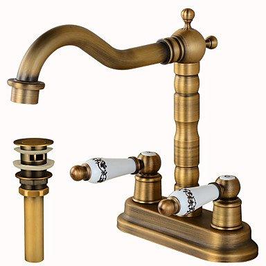 WANGAIMA deckenmontiert Keramisches Ventil ZWeißLöcher for Antikes Kupfer , Waschbecken Wasserhahn