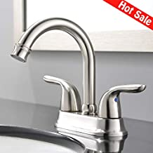 Ufaucet Modern 2 Handle Centerset Brushed Nickel Bathroom Faucet, Bathroom Sink Faucet Without Pop Up Drain