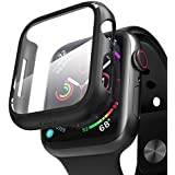 pzoz Compatible Apple Watch Series 4 Case with Screen Protector 44mm Accessories Slim Guard Thin Bumper Full Coverage Matte Hard Cover Defense Edge for Women Men New Gen GPS iWatch (Black)