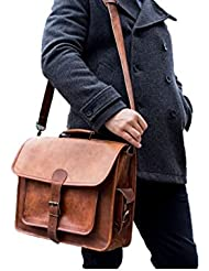 Vintage Leather Laptop Bag 16 Messenger Handmade Briefcase Crossbody Shoulder Bag
