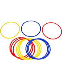 Trademark Innovations  Speed and Agility Training Rings, 17.7 inch Diameter, Multicolor, Set of 12