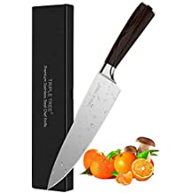 Chef's Knife Kitchen Knife 8 inch, High Carbon Stainless Steel with Long Lasting Razor Sharp Edge and Comfortable Pakkawood Handle, Versatile Chef Knife for Cutting, Chopping, Dicing and Slicing