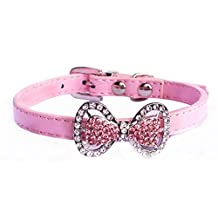 Bling Rhinestone Pet Cat Dog Bow Tie Collar Necklace Jewelry, Female Puppies Chihuahua Yorkie Girl Costume Outfits (XS, Pink)