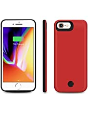 Backup Battery Charger Case 5,000 mAh for iPhone 8/7/6S/6 Power Bank Protection Cover with Earphone Function and Data Sync, Red