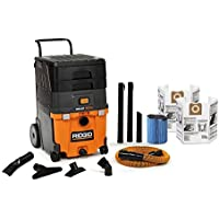 RIDGID Wet Dry Vacuum Cleaner VAC1100 Smart Cart 11-Gallon Wet Dry Auto Vacuum Cleaner for Car and Home, 6.5 Peak Horsepower RIDGID Shop Vacuum Cleaner with LED Car Nozzle and Dust Bags
