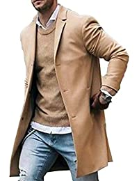 Men Trench Coat Wool Slim Fit Notched Collar Overcoat Single Breasted Long Pea Coat Jacket