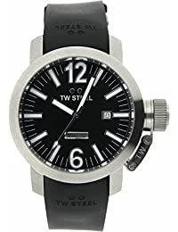 TW STEEL TWA98 Swiss Automatic Gold tone 45mm watch with date on a Black rubber strap with signature buckle