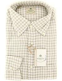 New Borrelli Beige Check Extra Slim Shirt