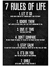 DASNTERED 7 Rules of Life Motivational Poste r Painting, Art Paintings Wall Art Inspirational Canvas Wall Decor Modern Motivational Poste r, for Bedroom, School Dormitory