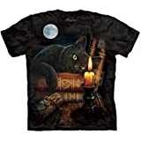 Spooky Full Moon Halloween Cat T-Shirt, Black