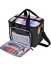 Teamoy Knitting Bag, Yarn Storage Tote Bag with Inner Divider for Yarn and Unfinished Project