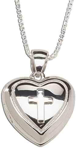 Children's Sterling Silver First Communion Cross Heart Locket Necklace