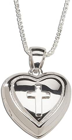 Children's Sterling Silver First Communion Cross Heart Locket Necklace