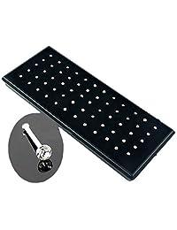 YingUs 60pcs 20 Gauge Crystal Rhinestone Nose Open Ring Bone Stud Stainless Steel Body Piercing Jewelry