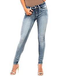 WannaBettaButt Mid-Rise Super Soft Skinny Luxe Jeans, Hand Resin Blue
