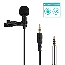 GHB Clip-on Microphone Mini Lapel Mic Hands Free Omnidirectional Condenser Mini Microphone 3.5mm for Iphone/Ipad/Ipod Touch/Samsung/Android/Windows Smartphones