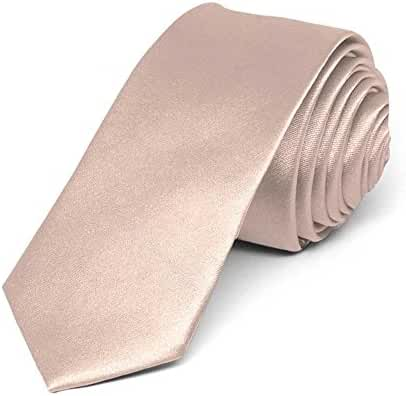 TieMart Blush Pink Skinny Solid Color Necktie, 2