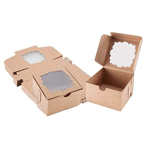 Sharlity 50 Pack Bakery Boxes with Window Pastry Boxes Dessert Boxes Treat Boxes Cookie Boxes for Gift Giving 4x4x2.5 inches