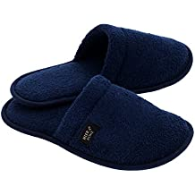 Hiera Home Terry Slippers Made in Turkey, 100% Turkish Cotton (Navy, L/XL)