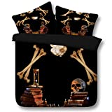 Human skeleton skull art of death 3d series bedding - duvet cover and pillowcase, bedroom three-piece bedding (duvet cover + 2 pillowcases) Prevent moisture, hypoallergenic, Twin, Full bed