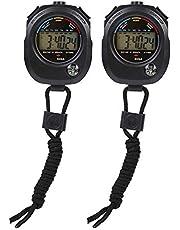 Qiilu 2 PCS Sport Timer, Cronógrafo Digital Preciso Handheld Multifunción Professional Electronic Sports Cronómetro Cronómetro Cronómetro