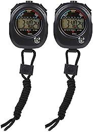 2 PCS Digital Sport Stopwatch Timer Multifunctional Handheld Digital LCD Stopwatch Timer for Sports/Running/Ra