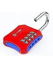 Cijferslot met 4-cijferig combinatieslot voor kluisje, fitnessstudio, school, bergruimte, raster, omheining/hangslot met cijfercode in de kleuren slot met code (rood-blauw)