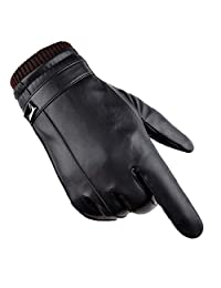 Men Winter Gloves PU Faux Leather Touchscreen Warm Thermal Lined Antislip Motor