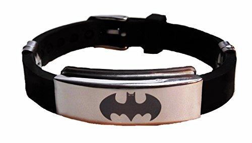 DC+Comics Products : DC Comics BATMAN SYMBOL Metal/Black Silicone BRACELET