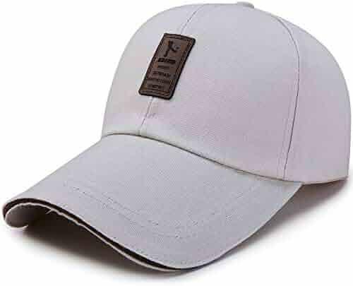 e78fc7e3bd7b3 Anetory Unisex Classic Canvas Plain Baseball Cap Vintage Leather Lable Sun  Hat