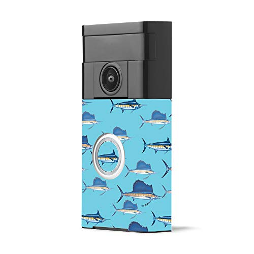 MightySkins Skin for Ring Video Doorbell - Billfish Stripes | Protective, Durable, and Unique Vinyl Decal wrap Cover | Easy to Apply, Remove, and Change Styles | Made in The USA