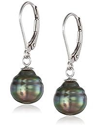 Natural Color Tahitian Cultured Pearl Leverback Earrings