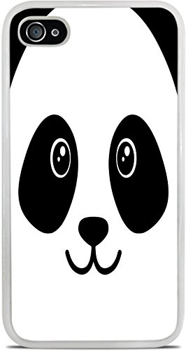 Panda Bear Face Cute White Silicone Case for iPhone 4 / 4S by Moonlight Printing