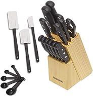 Conjunto de 22 peças de facas e utensílios de cozinha Nunca precisa afiar Farberware de aço inoxidável de alto