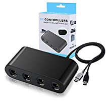 Lifegoo 4 Port GameCube Controller Adapter for Wii U, PC USB and Nintendo Switch, Easy to Plug and No Driver Need (Updated Version)
