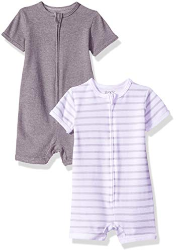 Hanes Ultimate Baby Zippin 2 Pack Rompers, Grey