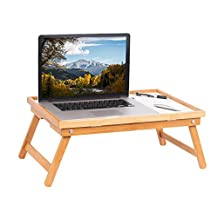 BirdRock Home Bamboo Lap Tray with Black Top | Foldable Breakfast Serving Bed Tray | Lap Desk with Wide Tilting Top | Laptop Stand (Natural)