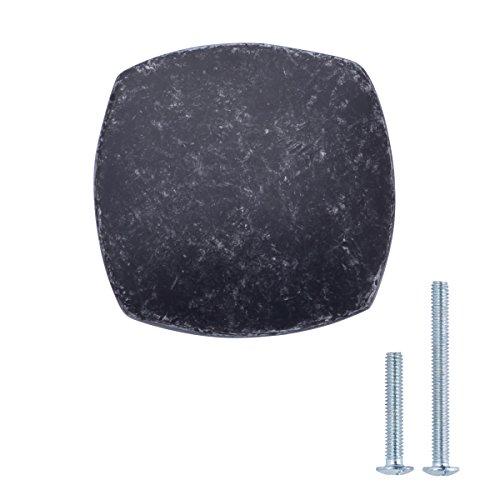AmazonBasics - Pomo de armario redondo y cuadrado, 3,2 cm de diametro, Plata envejecidado, Paquete de 25