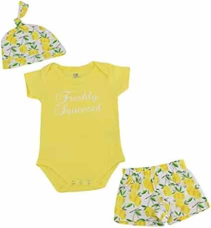 48ef1add1 Unique Baby Boys Lemon Print Onesie Shorts Cap 3 Piece Layette Set