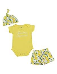 Unique Baby Boys Lemon Print Onesie Shorts Cap 3 Piece Layette Set